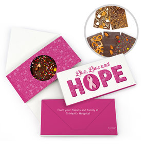 Personalized Live Love Hope Breast Cancer Gourmet Infused Belgian Chocolate Bars (3.5oz)