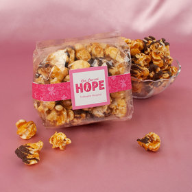 Personalized Breast Cancer Awareness Live Love Hope Chocolate Caramel Sea Salt Gourmet Popcorn 3.5 oz Bags