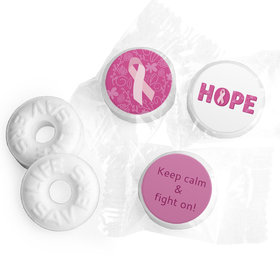 Personalized Life Savers Mints - Breast Cancer Awareness Live Love Hope