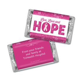 Personalized Breast Cancer Live Love Hope Hershey's Miniatures Wrappers