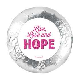 "Personalized 1.25"" Stickers - Breast Cancer Awareness Live Love Hope (48 Stickers)"