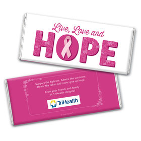 Personalized Chocolate Bar Wrappers Only - Breast Cancer Awareness Live Love Hope