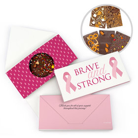 Personalized Brave and Strong Breast Cancer Gourmet Infused Belgian Chocolate Bars (3.5oz)