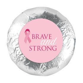 "Personalized 1.25"" Stickers - Breast Cancer Awareness Brave and Strong (48 Stickers)"
