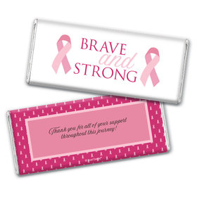 Personalized Chocolate Bar Wrappers Only - Breast Cancer Awareness Brave and Strong
