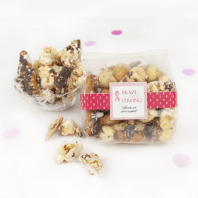 Personalized Breast Cancer Awareness Brave & Strong Trendy Trash Gourmet Popcorn 3.5 oz Bags