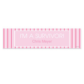 Personalized Breast Cancer Awareness Pinstripes 5 Ft. Banner
