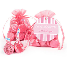 Personalized Cross Pink Breast Cancer Awareness Hershey's Kisses in Organza Bags with Gift Tag