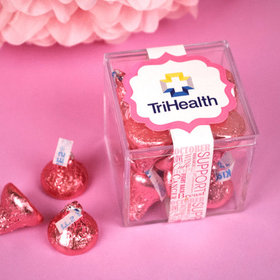 Personalized Breast Cancer Awareness JUST CANDY® favor cube with Hershey's Kisses