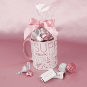 Personalized Breast Cancer Awareness Strength in Words 11oz Mug with Hershey's Mix
