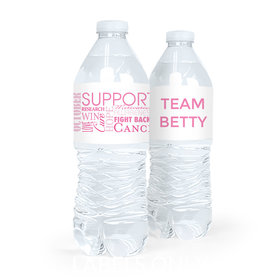 Personalized Breast Cancer Awareness Strength in Words Water Bottle Sticker Labels (5 Labels)