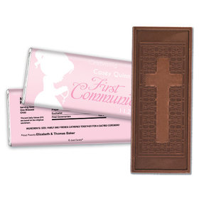 Communion Embossed Cross Chocolate Bar Child in Prayer