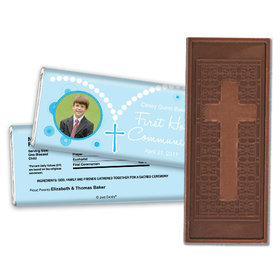 Communion Embossed Cross Chocolate Bar Photo Rosary