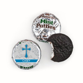 Communion Personalized Pearson's Mint Patties Fluer de Lis Cross