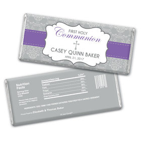 Communion Personalized Chocolate Bar Fluer de Lis Cross