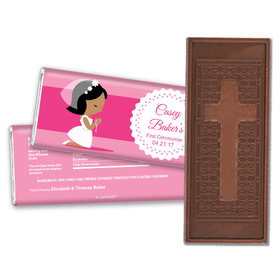 Communion Embossed Cross Chocolate Bar Girl in Prayer
