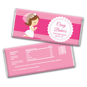Communion Personalized Chocolate Bar Girl in Prayer