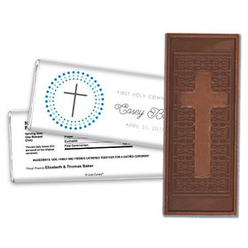 Communion Embossed Cross Chocolate Bar Circled Cross