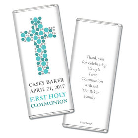 Communion Personalized Chocolate Bar Dots Cross