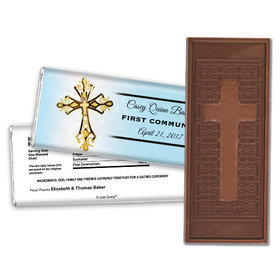 Communion Embossed Cross Chocolate Bar Gold Cross