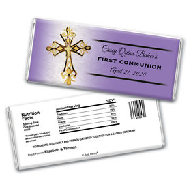 Gold Cross Personalized Candy Bar - Wrapper Only