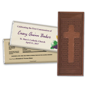 First Communion Embossed Cross Chocolate Bar Chalice and Eucharist