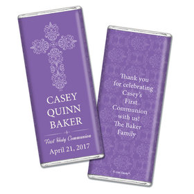 Communion Personalized Chocolate Bar Elegant Cross