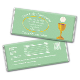 Communion Personalized Chocolate Bar Golden Chalice