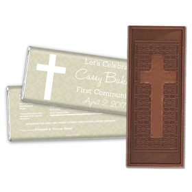 Communion Embossed Cross Chocolate Bar Initial Cross