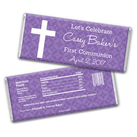 Communion Personalized Chocolate Bar Initial Cross