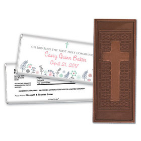 First Communion Embossed Cross Chocolate Bar Blooming Flowers