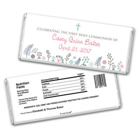 First Communion Personalized Chocolate Bar Blooming Flowers