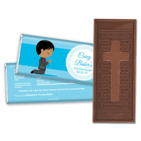 Communion Embossed Cross Chocolate Bar Boy in Prayer