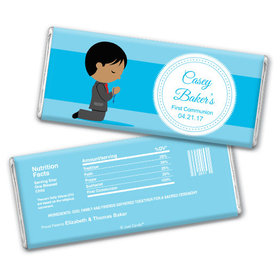 Communion Personalized Chocolate Bar Boy in Prayer