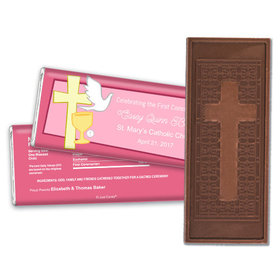 Communion Embossed Cross Chocolate Bar Chalice, Dove & Cross
