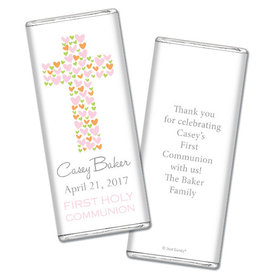 Communion Personalized Chocolate Bar Heart Cross