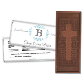 Communion Embossed Cross Chocolate Bar Filigree Monogram
