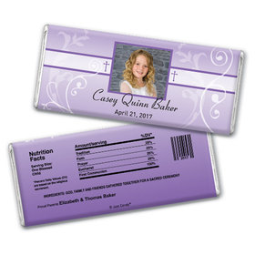Communion Personalized Chocolate Bar Photo, Cross & Scroll