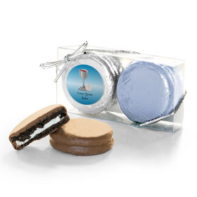 Personalized First Communion Blue Host & Silver Chalice 2PK Chocolate Covered Oreo Cookies