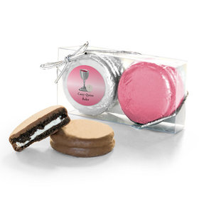 Personalized First Communion Pink Host & Silver Chalice 2PK Chocolate Covered Oreo Cookies