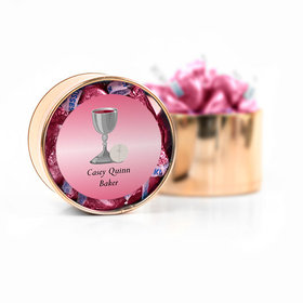 Personalized First Communion Pink Host & Silver Chalice Hershey's Kisses Medium Plastic Tin