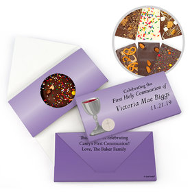 Personalized Host & Chalice First Communion Gourmet Infused Belgian Chocolate Bars (3.5oz)