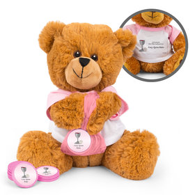 Personalized Host and Silver Chalice Teddy Bear with Chocolate Coins in XS Organza Bag