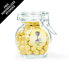 Communion Favor Personalized Latch Jar Host and Silver Chalice (6 Pack)