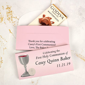Deluxe Personalized First Communion Godiva Chocolate Bar in Gift Box- Host and Silver Chalice