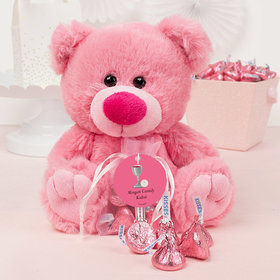 Personalized Girl Communion Host & Chalice Pink Teddy Bear and Organza Bag with Hershey's Kisses