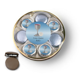 Personalized First Communion Blue Host & Silver Chalice Belgian Chocolate Covered Oreo Cookies Large Plastic Tin
