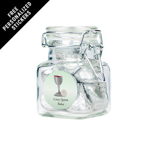 Personalized Communion Latch Jar Host and Silver Chalice (12 Pack)