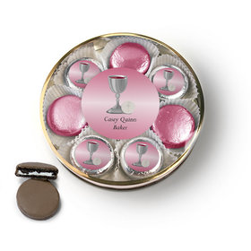 Personalized First Communion Pink Host & Silver Chalice Belgian Chocolate Covered Oreo Cookies Large Plastic Tin