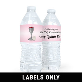 Personalized Communion Host & Silver Chalice Water Bottle Sticker Labels (5 Labels)